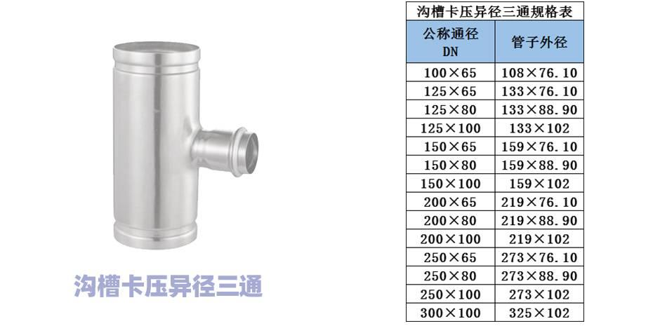 沟槽卡压异径三通规格
