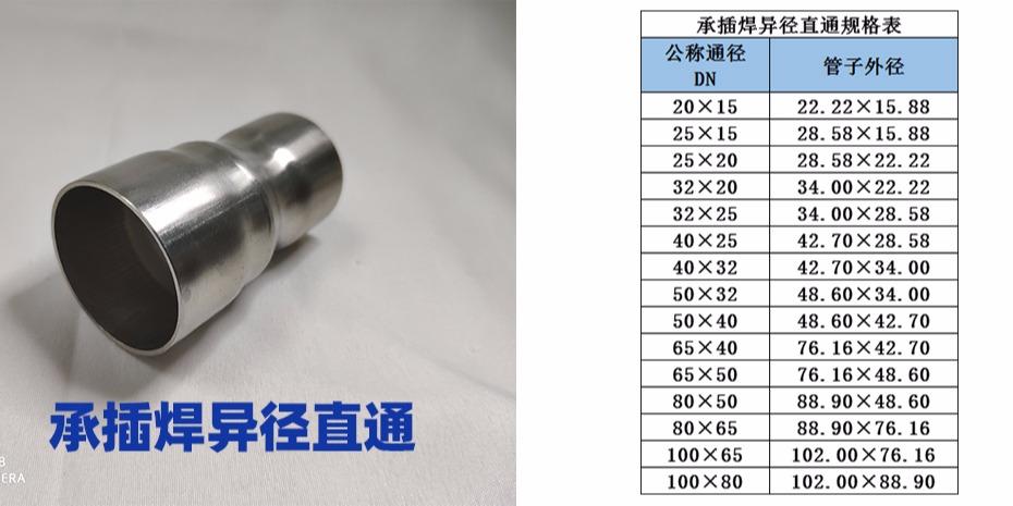 承插焊异径直通规格
