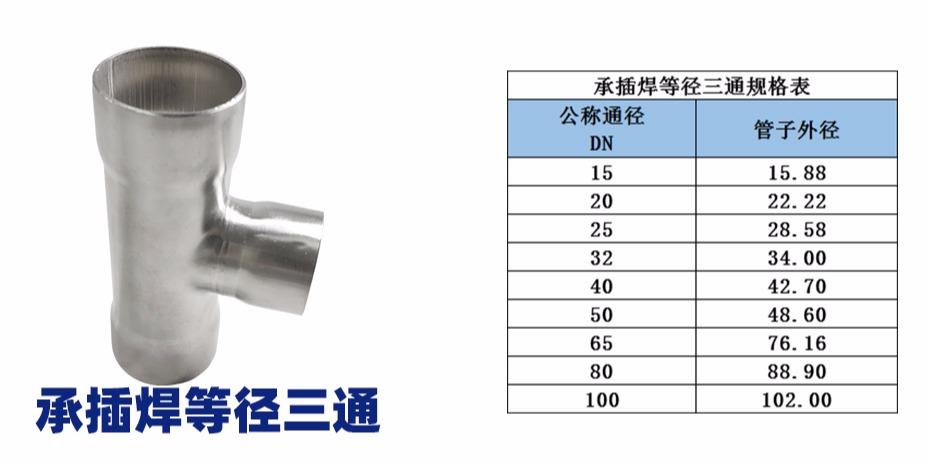 承插焊等径三通规格